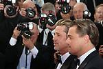 "72nd edition of the Cannes Film Festival in Cannes in Cannes, southern France on May 21, 2019. Red Carpet for the screening of the film ""Once Upon a Time... in Hollywood"" US actor Brad Pitt, US actor Leonardo DiCaprio on the red carpet.<br /> © Pierre Teyssot"