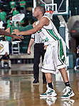 North Texas Mean Green guard Dominique Johnson (1) passes the ball in the game between the Jackson State Tigers and the University of North Texas Mean Green at the North Texas Coliseum,the Super Pit, in Denton, Texas. UNT defeated Jackson 68 to 49