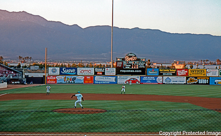 Ballparks: Rancho Cucamonga Epicenter. Panorama 2. San Gabriel Mountains, Los Angeles National Forest.