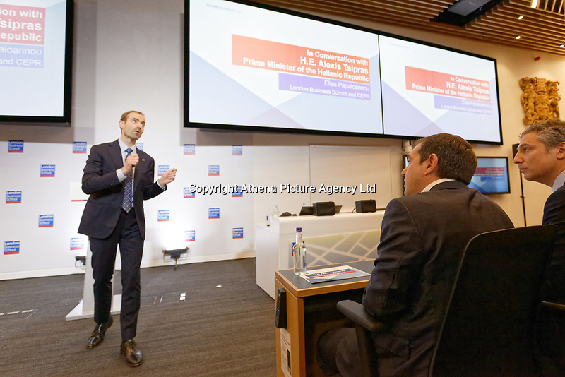 Pictured: Wednesday 27 June 2018<br /> Re: Greek Prime Minister Alexis Tsipras gives a speech at the Sammy Ofer building of the London Business School in London, UK