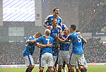 Danny Wilson mobbed after scoring for Rangers