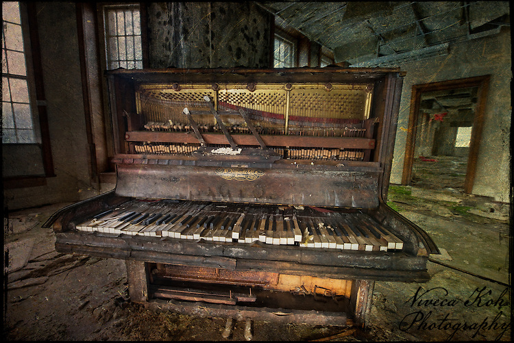 Piano in an abandoned mental asylum http://www.vivecakohphotography.co.uk/2011/12/05/royal-photographic-society-digital-imaging-group-projected-image-exhibition-2011/
