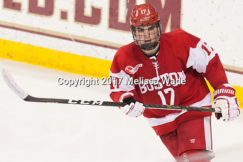 Dante Fabbro (BU - 17) - The visiting Boston University Terriers defeated the Boston College Eagles 3-0 on Monday, January 16, 2017, at Kelley Rink in Conte Forum in Chestnut Hill, Massachusetts.