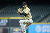 Vanderbilt Commodores starting pitcher Chandler Day (27) in action against the Houston Cougars during game nine of the 2018 Shriners Hospitals for Children College Classic at Minute Maid Park on March 3, 2018 in Houston, Texas. The Commodores defeated the Cougars 9-4. (Brian Westerholt/Four Seam Images)