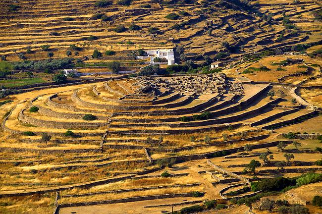Skarkos hill prehistoric settlement ruins. European Union Cultural Heritage archaeological site of Skarkos
