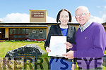 Leona Twiss Principal and Kieran Fleming Chairman of the board of management at Muire Gan Smal Castleisland Presentation school with the plans for three class extension to the school which was first opened in 1846