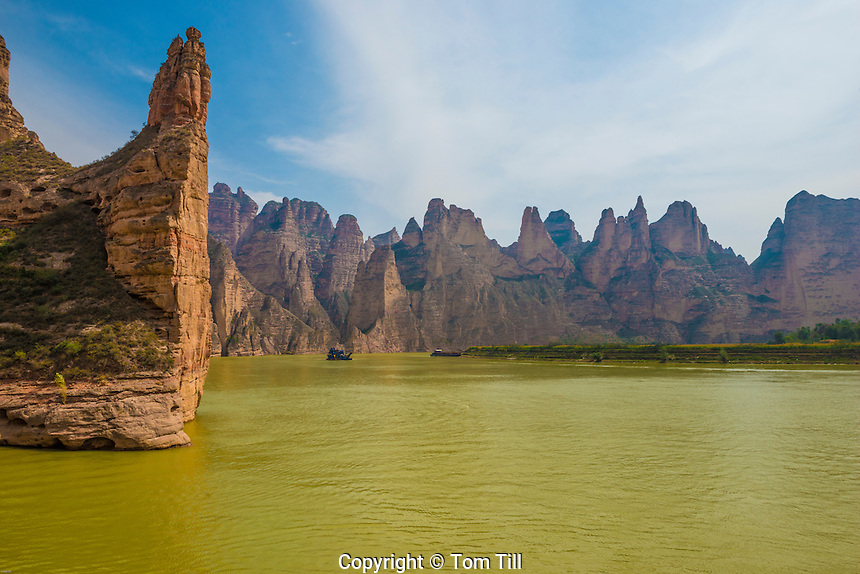 Yellow River and pinnacles, China, near Bingling Caves