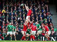 8th February 2020; Aviva Stadium, Dublin, Leinster, Ireland; International Six Nations Rugby, Ireland versus Wales; Alun Wyn Jones (Captain Wales) gathers clean lineout ball