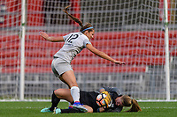 Bridgeview, IL - Sunday September 03, 2017: Ashley Hatch, Alyssa Naeher during a regular season National Women's Soccer League (NWSL) match between the Chicago Red Stars and the North Carolina Courage at Toyota Park. The Red Stars won 2-1.