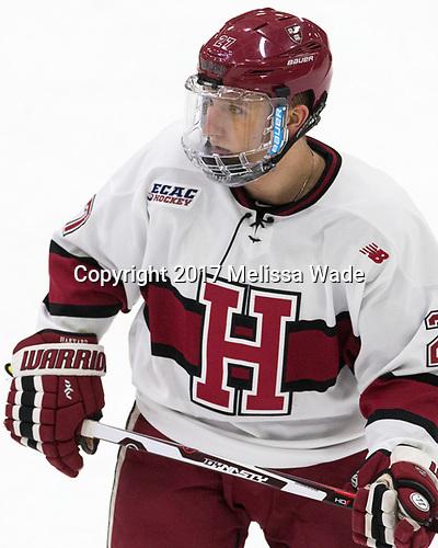 Viktor Dombrovskiy (Harvard - 27) - The Harvard University Crimson tied the visiting Yale University Bulldogs 1-1 on Saturday, January 21, 2017, at the Bright-Landry Hockey Center in Boston, Massachusetts.