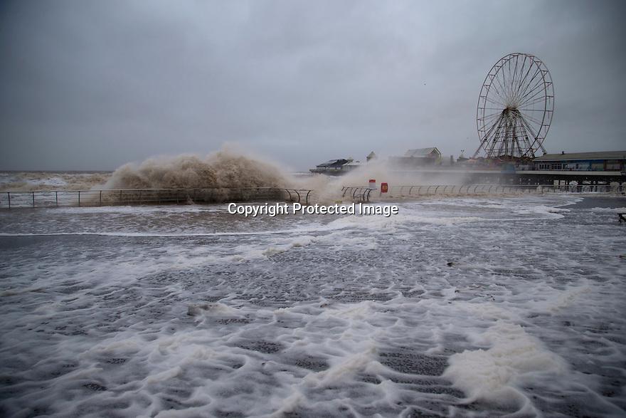 26/01/16 <br /> <br /> Storm Jonas blows across the Irish Sea making landfall on the Lancashire coast smashing into Blackpool sending waves crashing over the promenade.<br /> <br /> All Rights Reserved: F Stop Press Ltd. +44(0)1335 418365   +44 (0)7765 242650 www.fstoppress.com