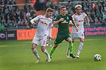 15.04.2018, Weser Stadion, Bremen, GER, 1.FBL, Werder Bremen vs RB Leibzig, im Bild<br /> Timo Werner (RB Leipzig #11)<br /> Niklas Moisander (Werder Bremen #18)<br /> Emil Forsberg (RB Leipzig #10)<br /> <br /> <br /> Foto &copy; nordphoto / Kokenge