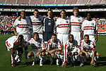 24 April 2004: Chicago Fire's starting lineup. Front (l to r):  DaMarcus Beasley, Justin Mapp, Logan Pause, Andy Williams, and captain Chris Armas. Rear (l to r): C.J. Brown, Nate Jaqua, goalkeeper Henry Ring, Kelly Gray, Jim Curtin, and Damani Ralph. The Chicago Fire defeated DC United 1-0 at RFK Stadium in Washington, DC on opening day of the regular season in a Major League Soccer game..