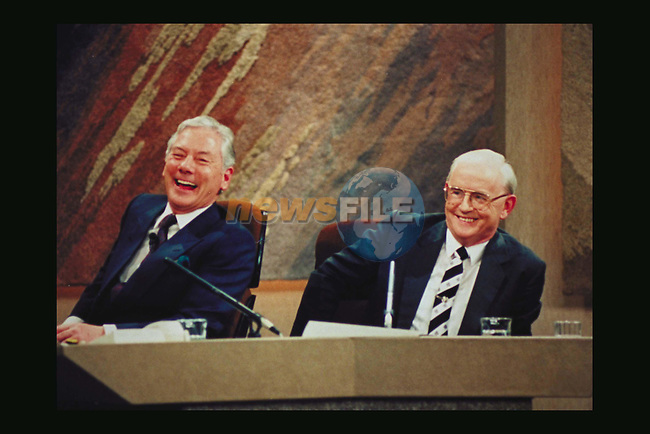 Jimmy Magee with Gay Byrne on the Late Late Show.Pic Source Fran Caffrey / Newsfile