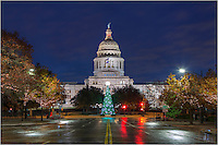 The Christmas tree that sits on the edge of the capitol grounds welcomes all who pass by. With patterns and designs that constantly change colors and shapes, the tree is ever changing and welcome in the holiday spirit in Austin, Texas.