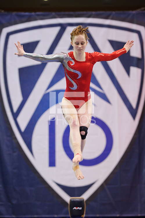 LOS ANGELES, CA - March 19, 2011:  Stanford's Shona Morgan competes on the balance beam during the Pac-10 Championship at UCLA's Pauley Pavilon.   Stanford placed fourth in the competition.