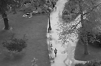Overhead view of people in the park below the Eiffel Tower, Paris, France
