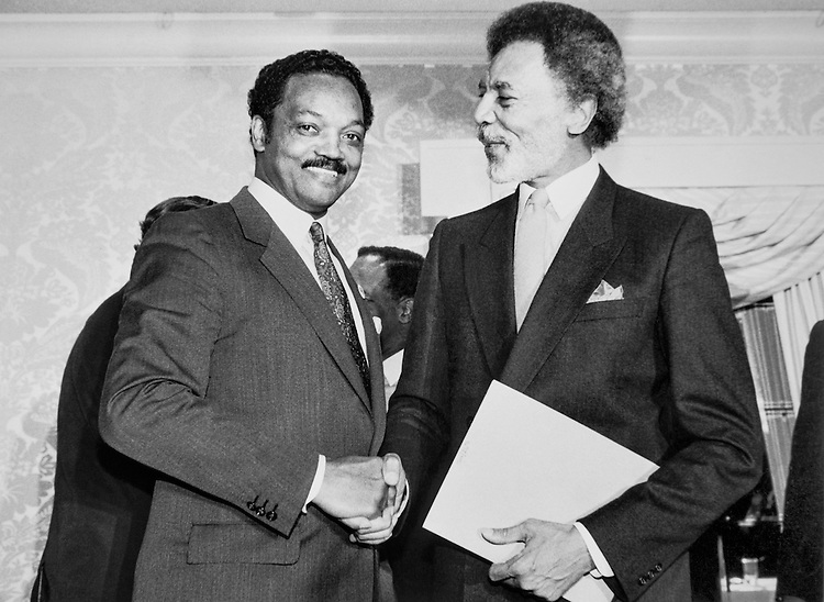 Jesse Jackson with Rep. Ron Dellums, D-Calif. October, 1987. (Photo by CQ Roll Call)