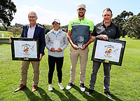Caryn Khoo and Daniel Pearce with tournament sponsors after winning the Charles Tour Augusta Funds Management Ngamotu Classic, Ngamotu Golf Course, New Plymouth, New Zealand, Sunday 15 October 2017.  Photo: Simon Watts/www.bwmedia.co.nz