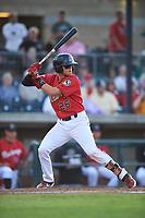 Billings Mustangs Victor Ruiz (26) at bat during a Pioneer League game against the Grand Junction Rockies at Dehler Park on August 15, 2019 in Billings, Montana. Billings defeated Grand Junction 11-2. (Zachary Lucy/Four Seam Images)