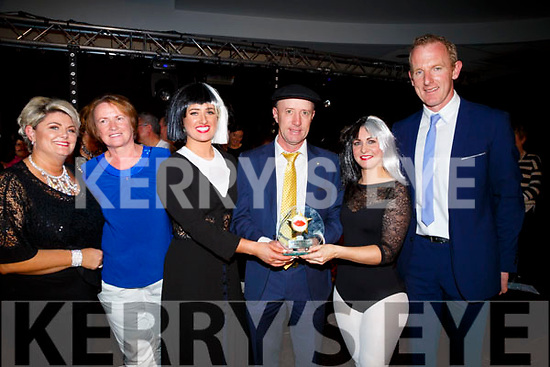 Michael Healy Rae (Judge) presents the Judges first prize to The Girls Behind The Wire Group Karen Joy and Aisling O'Dwyer at the Bon Secour Sync'It for Sudan on Saturday night in Brandon Hotel,Tralee also in pic are Breda Doyle (MC), Elma Walsh and Liam Hassett (Judges).