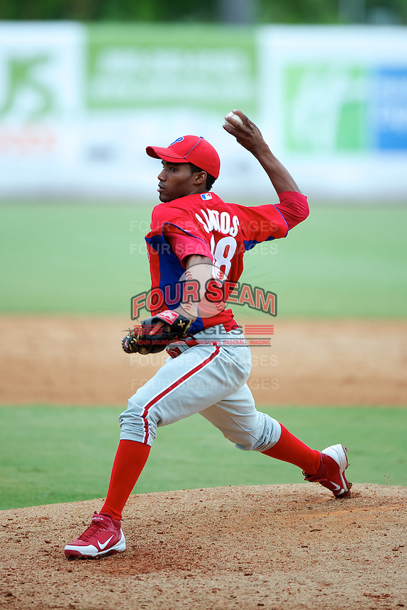 GCL Phillies Felix Santos #68 during a Gulf Coast League game against the GCL Yankees at Legends Field on July 17, 2012 in Tampa, Florida.  GCL Phillies defeated the GCL Yankees 4-2.  (Mike Janes/Four Seam Images)