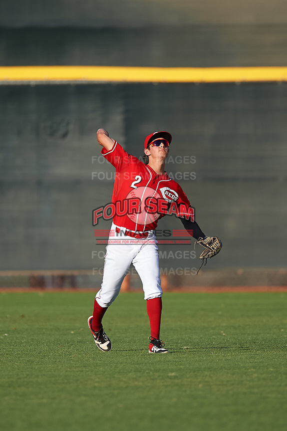 AZL Reds center fielder Rafael Franco (2) throws to the infield during an Arizona League game against the AZL Athletics Green on July 21, 2019 at the Cincinnati Reds Spring Training Complex in Goodyear, Arizona. The AZL Reds defeated the AZL Athletics Green 8-6. (Zachary Lucy/Four Seam Images)