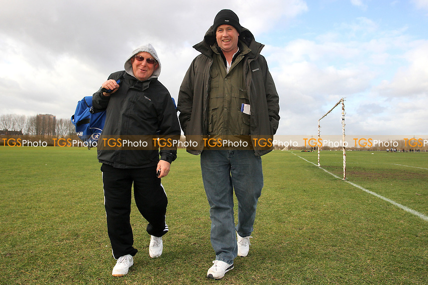 Brian Hannon (R) and Jeff Gordon of the East London Sunday League, pictured at South Marsh, Hackney Marshes, London - 22/01/12 - MANDATORY CREDIT: Gavin Ellis/TGSPHOTO - Self billing applies where appropriate - 0845 094 6026 - contact@tgsphoto.co.uk - NO UNPAID USE.