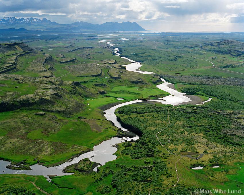 Glanni fremst í Norðurá séð til suðurs, Borgarbyggð áður Norðurárdalshreppur / Glanni waterfall in river Nordura viewing south. Borgarbyggd former Nordurardalshreppur.