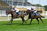 Winner of The AJN Steelstock Henstridge Apprentice Handicap Juanito Chico (4 right) ridden by Ryhs Clutterbuck and trained by Michael Attwater during Horse Racing at Salisbury Racecourse on 9th August 2020