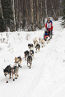Aliy Zirkle w/Iditarider on Trail 2005 Iditarod Ceremonial Start near Campbell Airstrip Alaska SC
