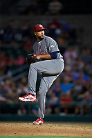 Lehigh Valley IronPigs relief pitcher Pedro Beato (44) delivers a pitch during a game against the Rochester Red Wings on September 1, 2018 at Frontier Field in Rochester, New York.  Lehigh Valley defeated Rochester 2-1.  (Mike Janes/Four Seam Images)