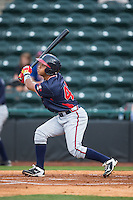 Leudys Baez (43) of the Rome Braves follows through on his swing against the Hickory Crawdads at L.P. Frans Stadium on May 12, 2016 in Hickory, North Carolina.  The Braves defeated the Crawdads 3-0.  (Brian Westerholt/Four Seam Images)