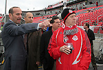 28 April 2007: Major League Soccer Commissioner Don Garber (left) with Deputy Commissioner Ivan Gazidis (2nd from left), Paul Garofolo of the prospective Cleveland Major League Soccer expansion team, and President of Maple Leafs Sports and Entertaiment Lawrence M. Tanenbaum (r), owner of Toronto FC. Toronto FC lost 1-0 to the Kansas City Wizards in the inaugural game at BMO Field in Toronto, Ontario, Canada, the first MLS game played outside of the United States.
