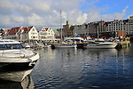Waterside buildings and boats city centre, Vagen harbour, Bryggen area, Bergen, Norway
