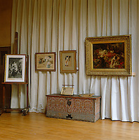 In the Musee Delacroix which was once his atelier studies for the Death of Sardanapalus hang above an antique Moroccan chest