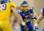 BROOKINGS, SD - APRIL 25: South Dakota State University's Kyle Paris, #32, playing for Blue, eyes the Yellow defense of their Spring Game Saturday afternoon at the Sanford Jackrabbit Athletic Facility in Brookings. (Photo by Dave Eggen/Inertia)
