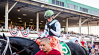 OLDSMAR, FL - MARCH 11: Tapwrit #5, ridden by Jose Ortiz (green hat), in the winners circle after winning the Tampa Bay Derby on Tampa Bay Derby Day at the Tampa Bay Downs on  March 11, 2017 in Oldsmar, Florida. (Photo by Douglas DeFelice/Eclipse Sportswire/Getty Images)