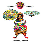 Illustrative image of umbrellas on scales over woman representing Libra sign