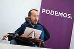 Pablo Echenique during PODEMOS meeting with autonomy general and organizational secretaries sat Real Palace in Madrid March 17,2016. (ALTERPHOTOS/Borja B.Hojas)