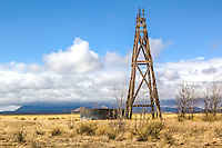 A old windmill tower in southern New Mexico near the VLA radio telescope.