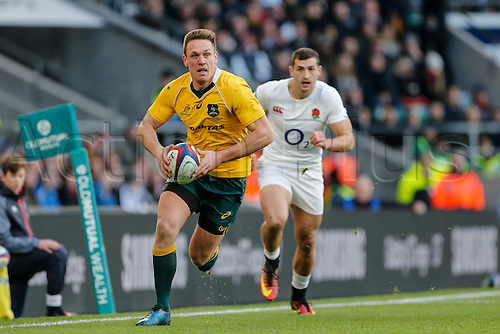 03.12.2016. Twickenham, London, England. Autumn International Rugby. England versus Australia.  Dane Haylett-Petty of Australia on an open field run with the ball.   Final score: England 37-21 Australia.