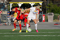 Rochester, NY - Friday June 17, 2016: Portland Thorns FC forward Christine Sinclair (12), Western New York Flash defender Abigail Dahlkemper (13) during a regular season National Women's Soccer League (NWSL) match between the Western New York Flash and the Portland Thorns FC at Rochester Rhinos Stadium.
