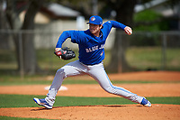 Toronto Blue Jays pitcher Kyle Huckaby (35) during an exhibition game against the Canada Junior National Team on March 8, 2020 at Baseball City in St. Petersburg, Florida.  (Mike Janes/Four Seam Images)