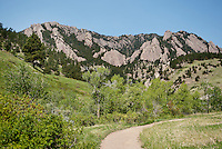 A view of the flatiron mountains near Bear Peak in Boulder, Colorado, Saturday, June 4, 2011. Elevation is 8,416 feet. ..Photo by Matt Nager