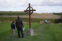 Visitors look at the World War I battle fields at the Canadian-run Newfoundland Memorial in Beaumont-Hamel, La Somme, France, August 18, 2014. 2014 marks 100th anniversary of the Great War.