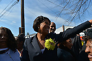 March 23, 2013  (Washington, DC)  Ward 4 Councilmember Muriel Bowser greets supporters after announcing that she is running for mayor of the District of Columbia on March 23, 2013. She is the first person to announce for the 2014 race.  (Photo by Don Baxter/Media Images International)