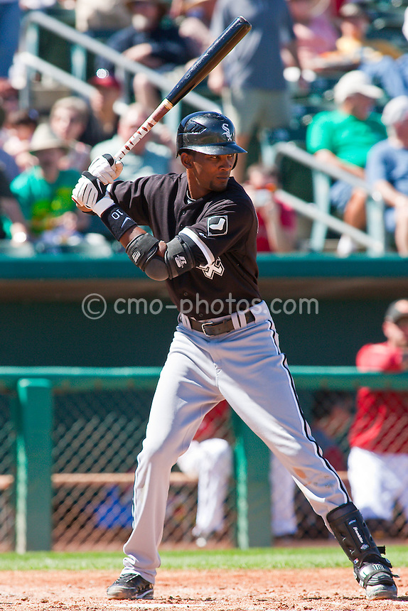Mar 17, 2009; Tucson, AZ, USA; Chicago White Sox shortstop Alexei Ramirez waits for a pitch in the top of the 4th inning of a spring training game against the Arizona Diamondbacks at Tucson Electric Park.  The Diamondbacks defeated the White Sox 7-6 in 10 innings.