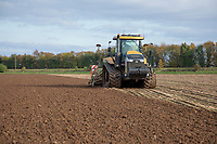 Wheat drilling with high horsepower tractor and comnbination drill in wet conditions - Lincolnshire, October