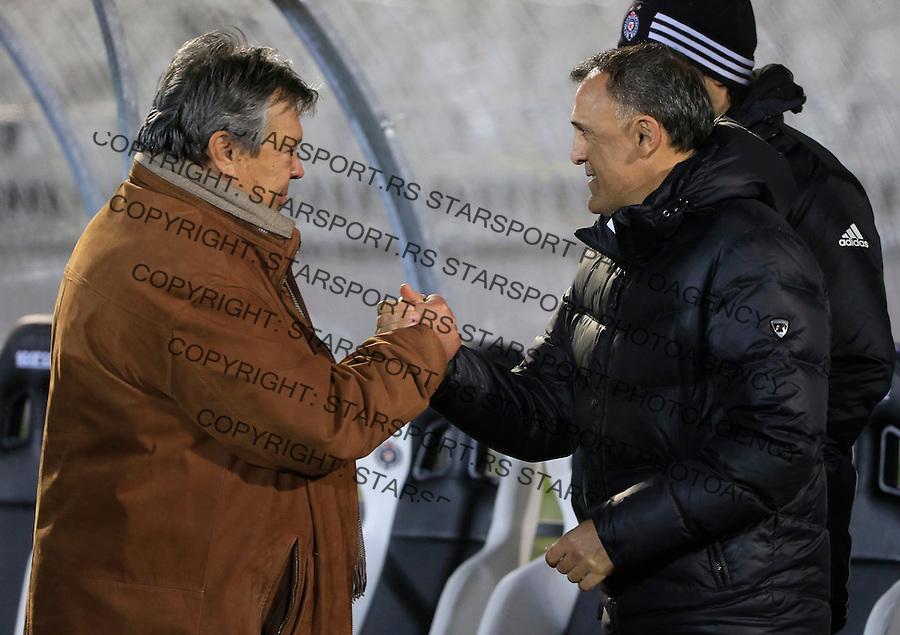 Fudbal Jelen Super League season 2015-2016<br /> Partizan v Borac (Cacak)<br /> Head coach Milorad Kosanovic (L) and head coach Ljubinko Drulovic<br /> Beograd, 16.12.2015.<br /> foto: Srdjan Stevanovic/Starsportphoto&copy;